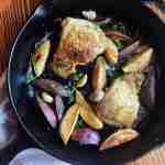One-Pan Chicken Thighs with Sweet Potatoes in a Skillet